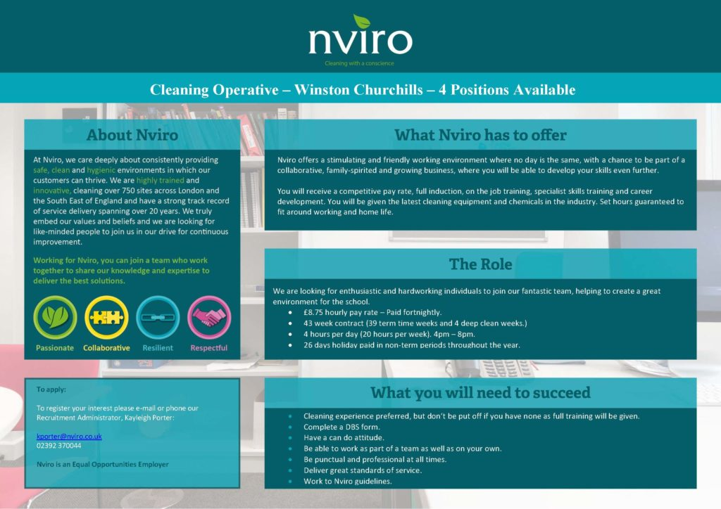 NVIRO - Advert for Cleaning Operatives