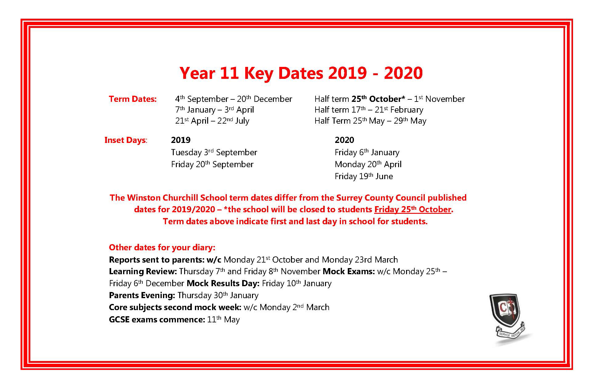 Year 11 Key Dates 2019-20 a