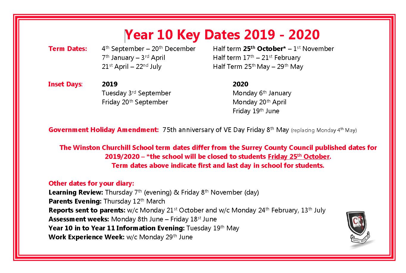 Year 10 Key Dates
