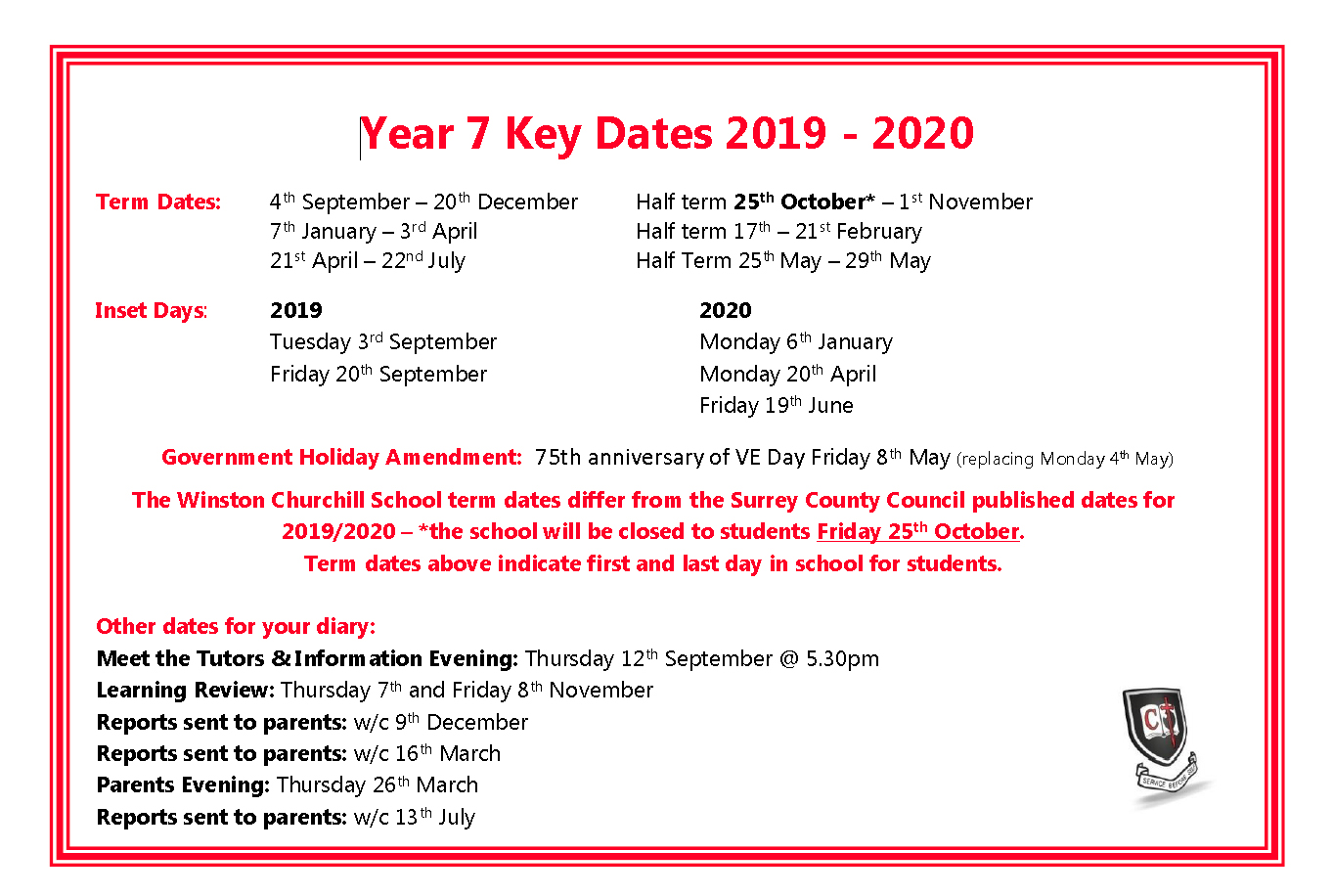 Year 7 Key Dates