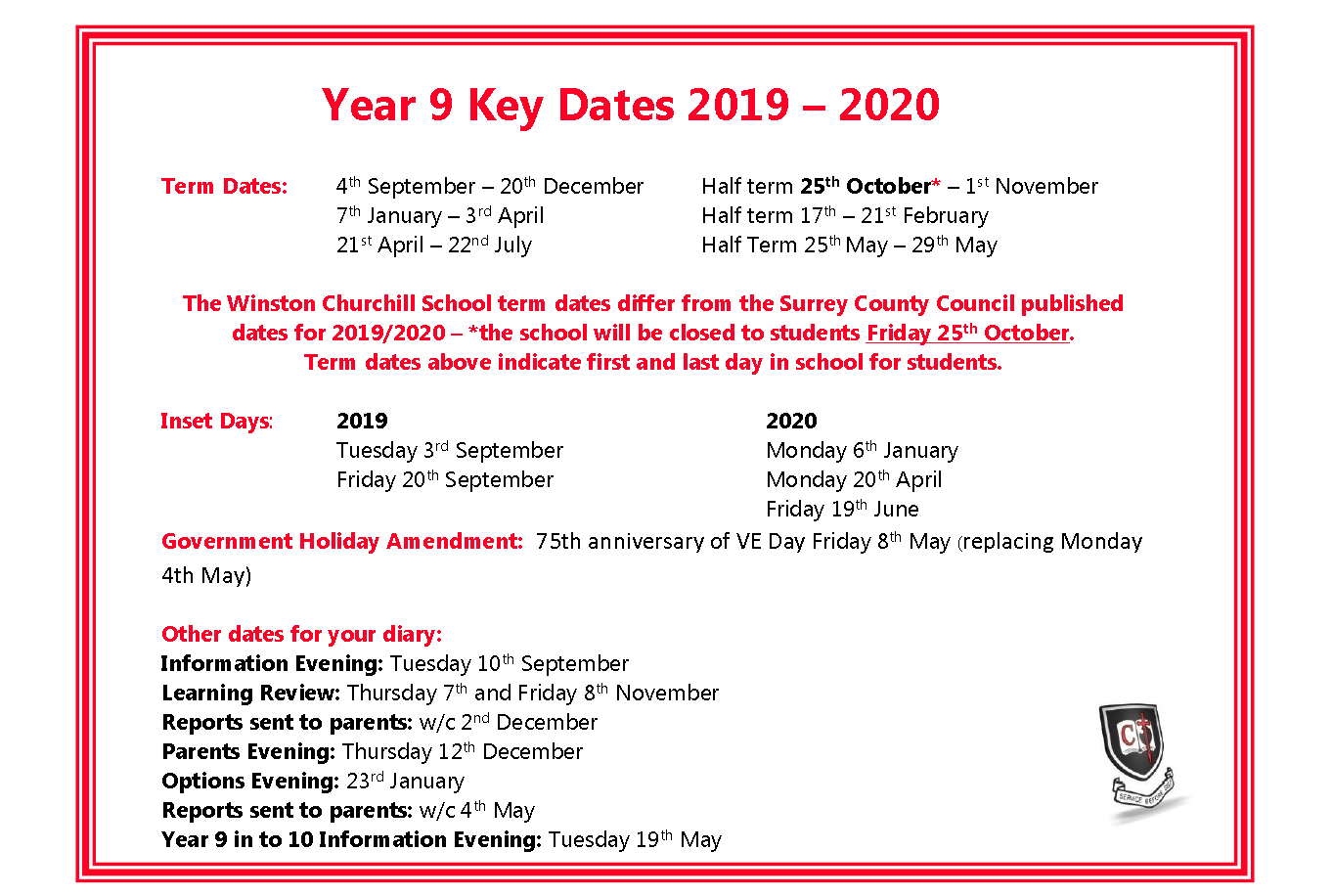 Year 9 Key Dates