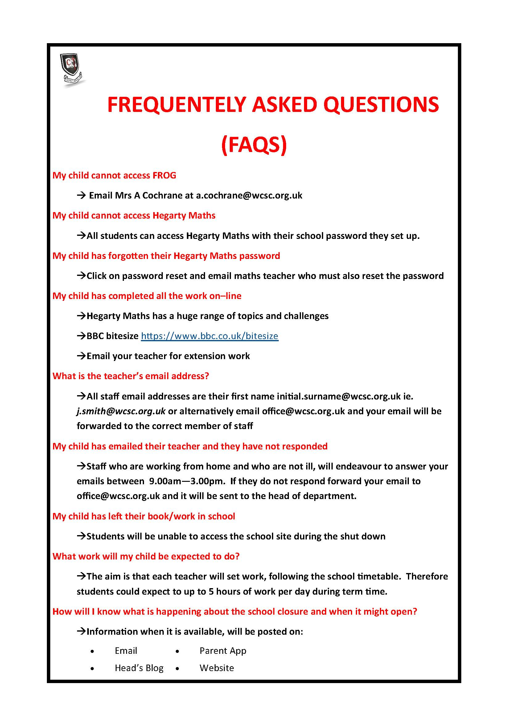 FAQs March 2020