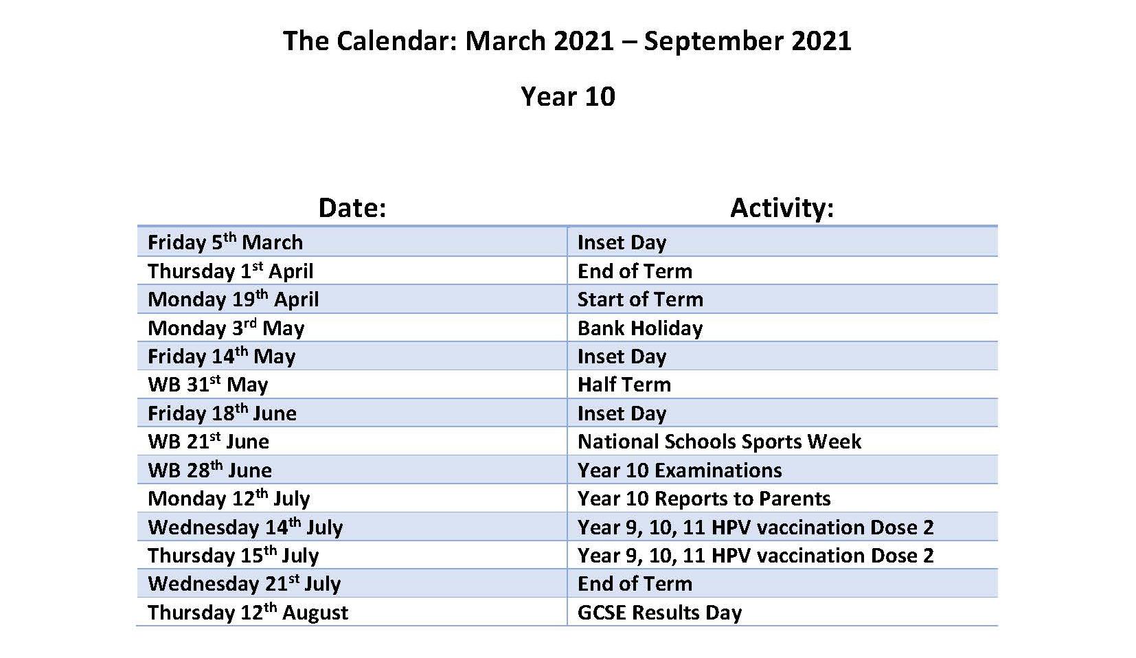 Calendar March - July 2021 - Year 10