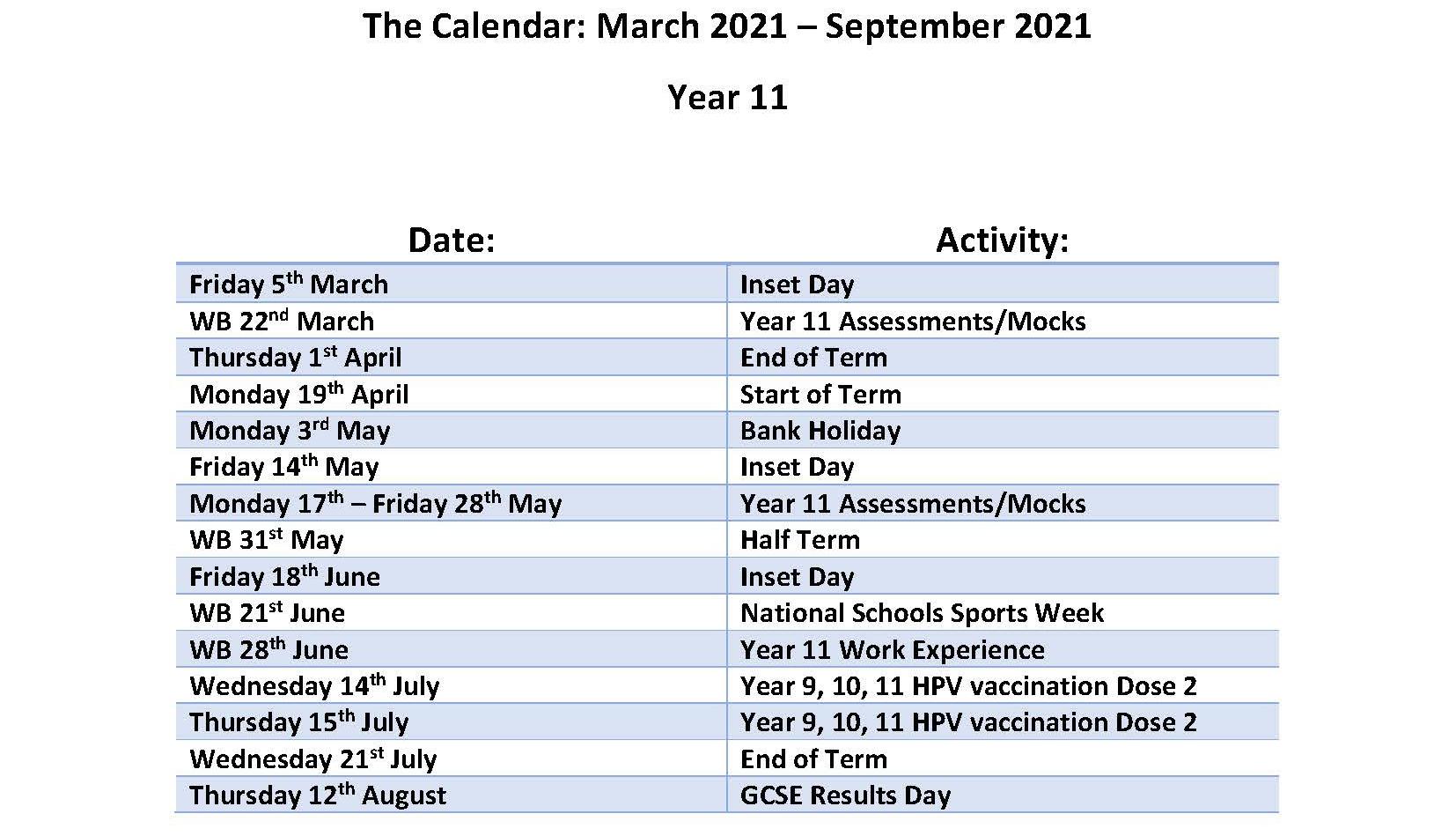 Calendar March - July 2021 - Year 11