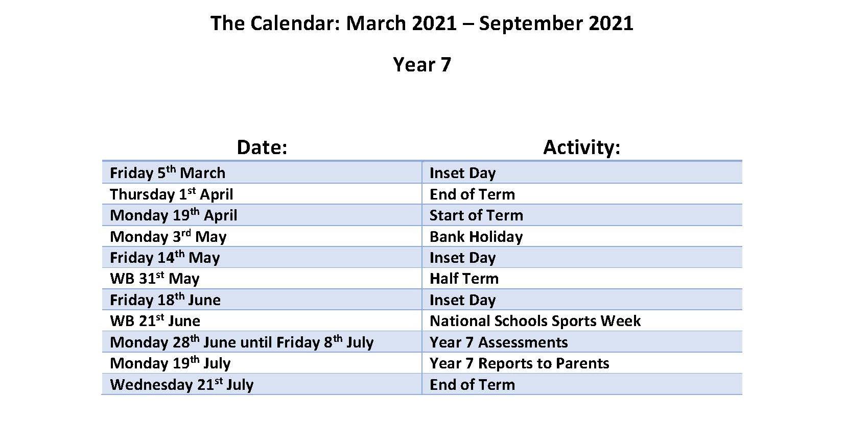 Calendar March - July 2021- Year 7