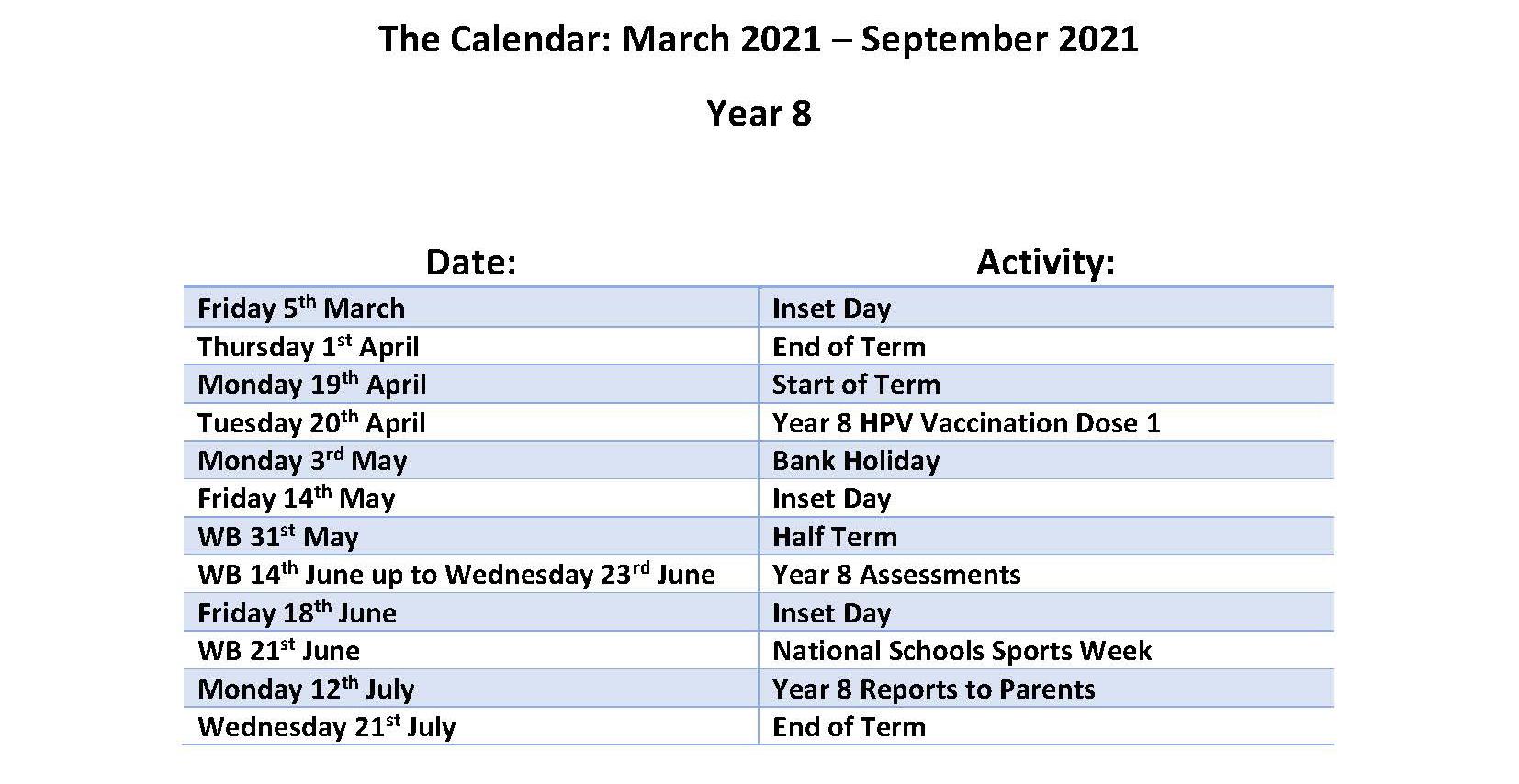 Calendar March - July 2021- Year 8