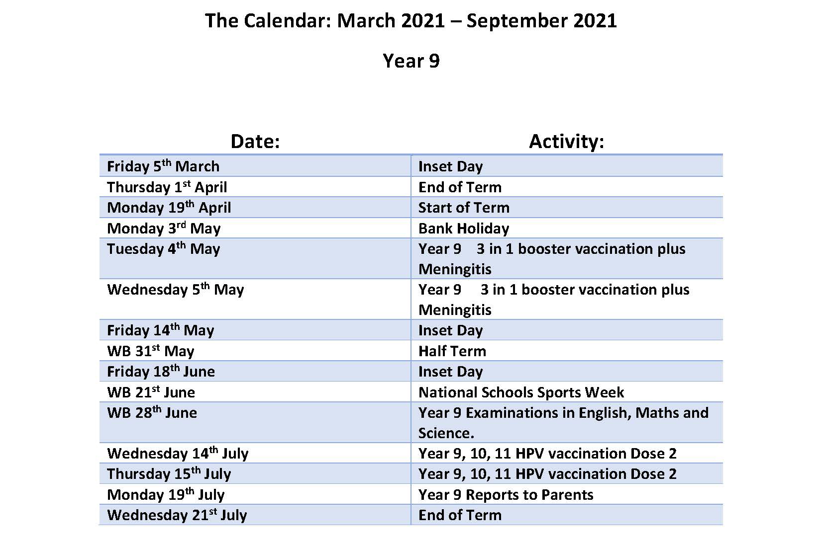 Calendar March - July 2021- Year 9