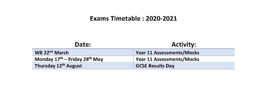 Calendar Year 11 Exams 2020-2021